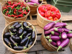 eggplants and peppers baskets farmers market 300x225