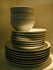 kitchen stacked dishes
