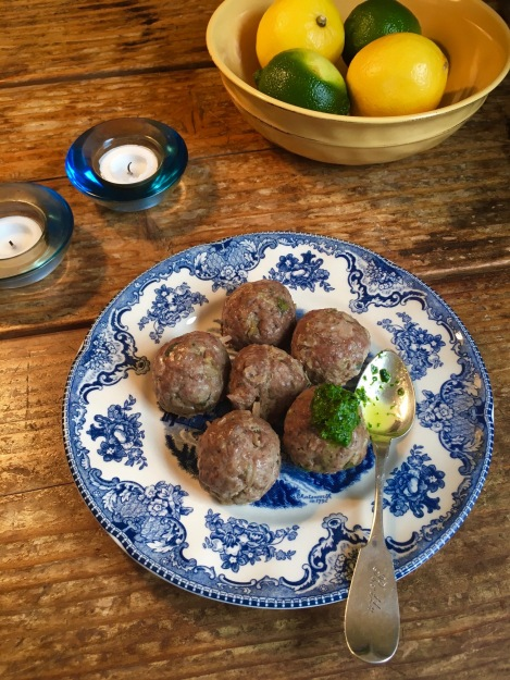 Lamb Meatballs Mint Basil Pesto